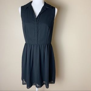 Kensie • Black A Line Button Up Collared Dress